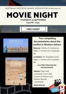 FREE MOVIE NIGHT: Western Sahara Mini Docos 6.30-8.30pm, Thurs 20 September Leichhardt Town Hall | Australia Western Sahara Association