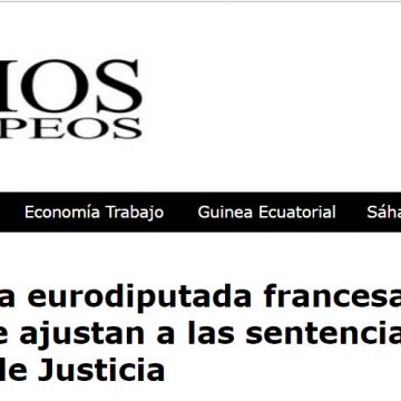 Las declaraciones de la eurodiputada francesa, Patricia Lalonde, no se ajustan a las sentencias del Tribunal Europeo de Justicia – Espacios Europeos, Diario digital – La otra cara de la Política