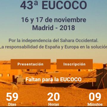La Comunidad de Madrid acogerá, 16 y 17 de noviembre, la 43 Eucoco, conferencia europea🇪🇺de apoyo a la lucha saharaui🇪🇭