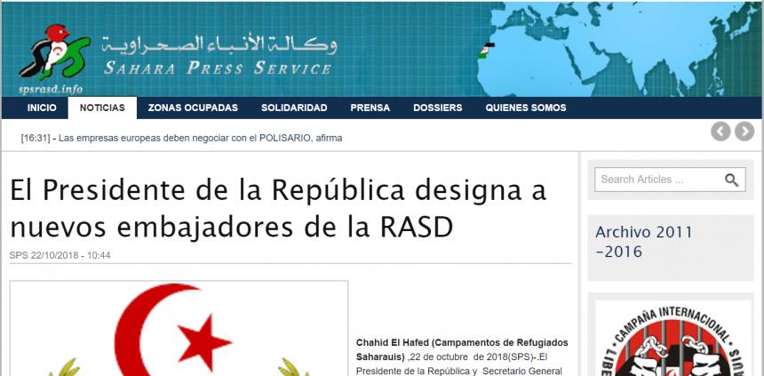 El Presidente de la República designa a nuevos embajadores de la RASD   Sahara Press Service