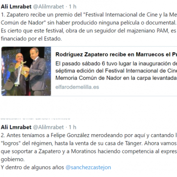 """Ali Lmrabet: Antes teníamos a Felipe González merodeando por aquí y cantando los """"logros"""" del régimen, hasta la venta de su casa de Tánger. Ahora vamos a tener que soportar a Zapatero y a Moratinos haciendo competencia al expresidente del gobierno. Y dentro de algunos años @sanchezcastejon"""