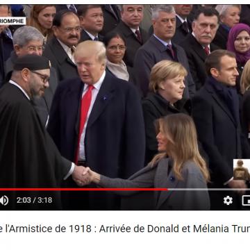 Centenaire de l'Armistice de 1918 : Arrivée de Donald et Mélania Trump à l'Arc de Triomphe