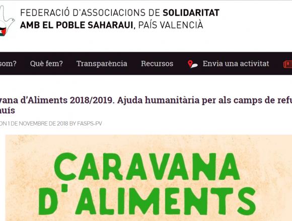 Caravana d'Aliments 2018/2019. Ajuda humanitària per als camps de refugiats sahrauís — FASPS-PV