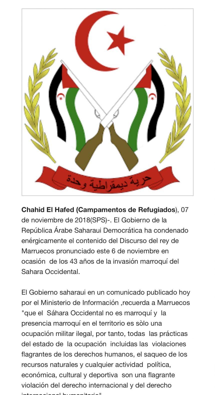⚡️ 🇪🇭 Las noticias saharauis del 7 de noviembre de 2018: La #ActualidadSaharaui de HOY 🇪🇭🇪🇭