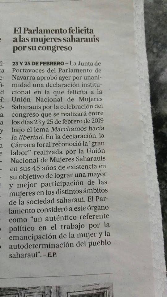 El Parlamento felicita a las mujeres saharauis por su congreso. Noticias de Navarra