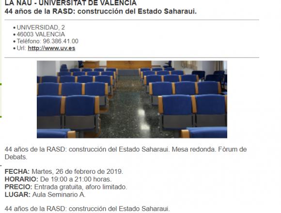 44 años de la RASD: construcción del Estado Saharaui. Mesa redonda. Fòrum de Debats.Martes, 26 de febrero