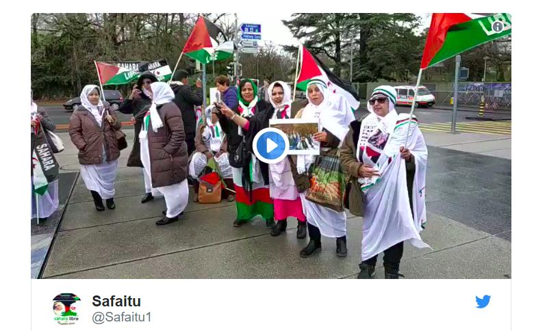 Ginebra hoy vestida de los mejores colores de la bandera saharaui 🇪🇭