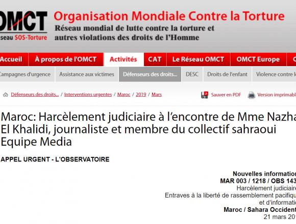 Maroc: Harcèlement judiciaire à l'encontre de Mme Nazha El Khalidi, journaliste et membre du collectif sahraoui Equipe Media / 21 mars 2019 / Interventions urgentes / Défenseurs des droits… / OMCT