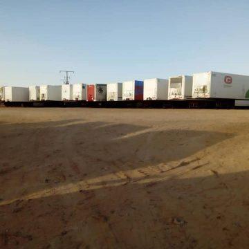 Llegada de la caravana procedente de España a las instalaciones de la Media Luna Roja Saharaui