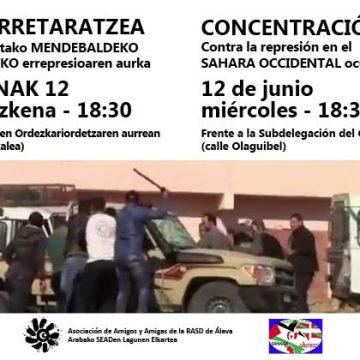 Concentración contra la represión marroquí en el Sahara Occidental ocupado – Arabako SEADen Lagunen Elkartea – Asociación de Amigas y Amigos de la RASD de Álava