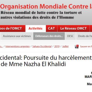 Sahara Occidental: Poursuite du harcèlement judiciaire à l'encontre de Mme Nazha El Khalidi / 5 juillet 2019 / Interventions urgentes / Défenseurs des droits… / OMCT