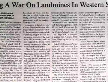 Fighting A War On Landmines In Western Sahara