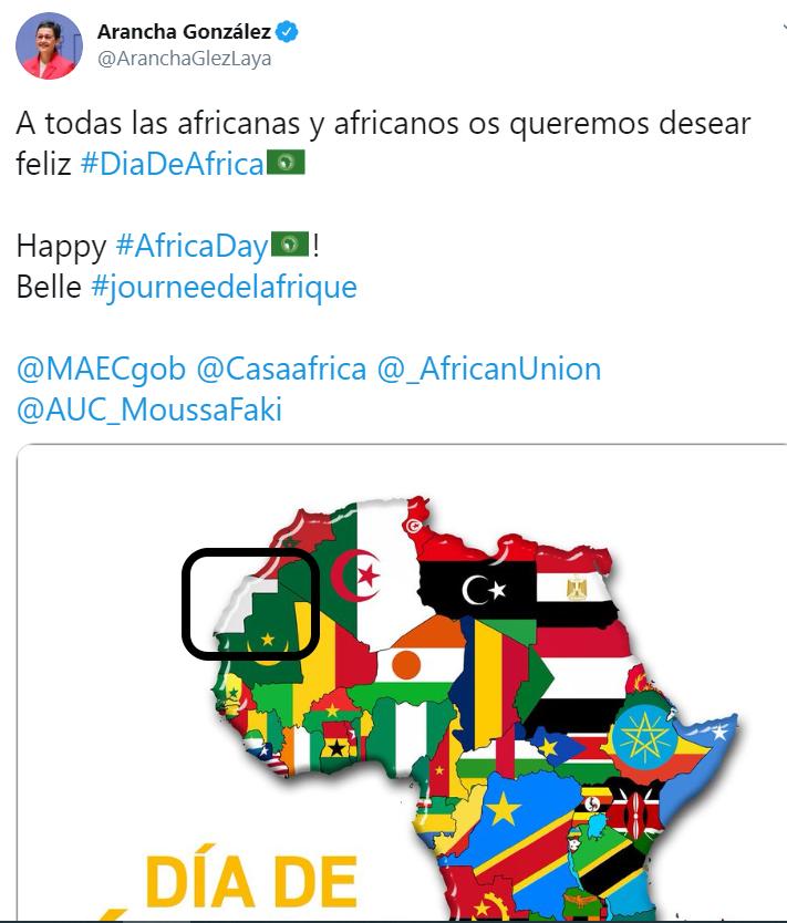 Nueva Canarias pregunta al Gobierno acerca de la publicación de un mapa de África con el espacio correspondiente al Sáhara Occidental en blanco