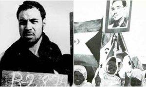 A la izquierda el líder independentista saharaui Bassiri. A la derecha, unas niñas llevan un retrato suyo
