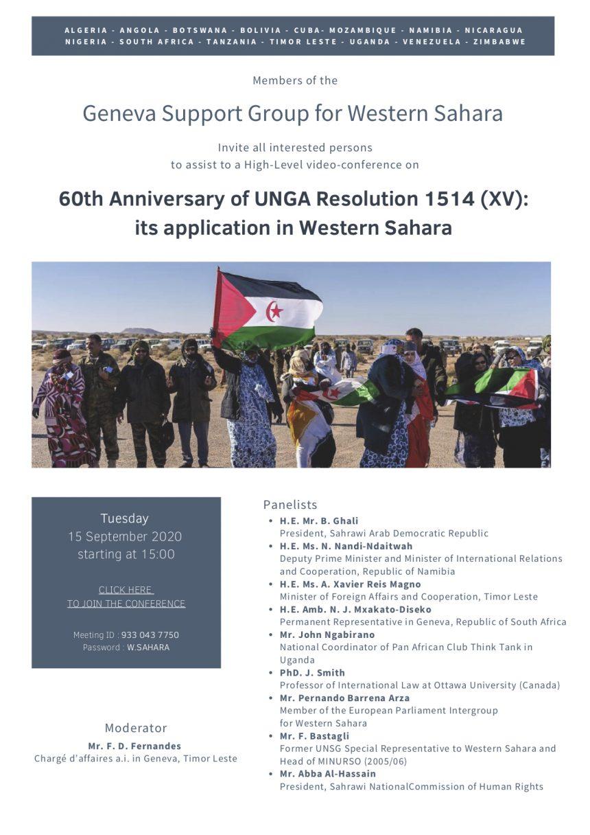(En directo) Presidente saharaui participa por videoconferencia en la reunión del Grupo de de Ginebra de Apoyo al Sáhara Occidental por 60° aniversario de la Resolución 1514 (XV) de la Asamblea General DE LAS NACIONES UNIDAS